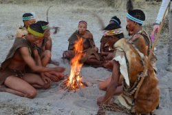 Safari Club Photos - Bushmen fire lighting